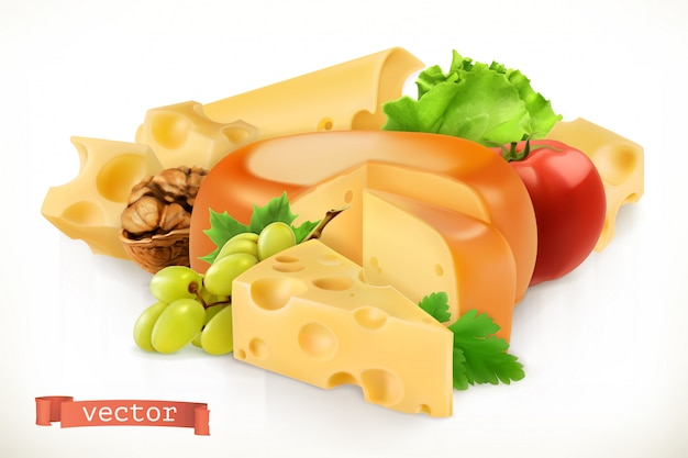Käse, obst und gemüse.