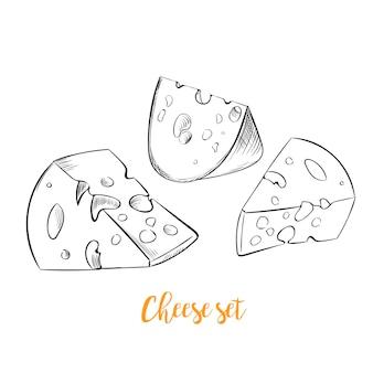 Käse skizze handgezeichneten satz
