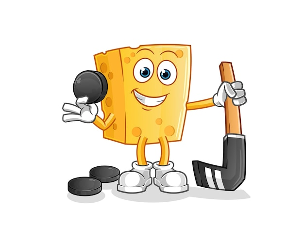 Käse spielt hockey. zeichentrickfigur