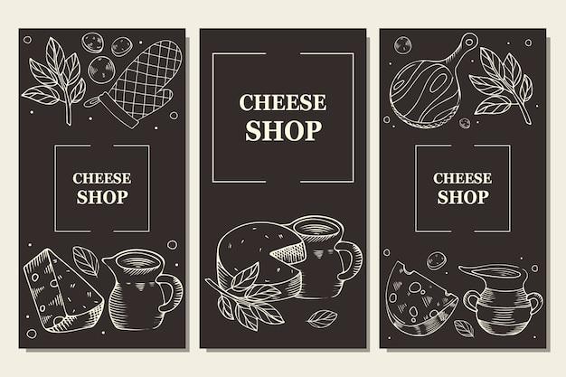 Käse und milchprodukte. menüvorlage, flyer für shop und cafe. gravur auf einem dunklen hintergrund.