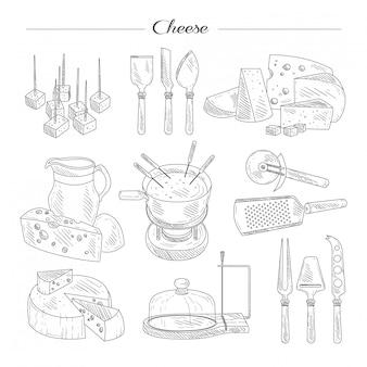 Käse und schneidwerkzeuge. skizzensatz.