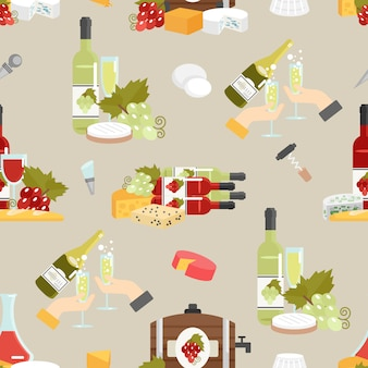 Käse und wein dekoratives muster