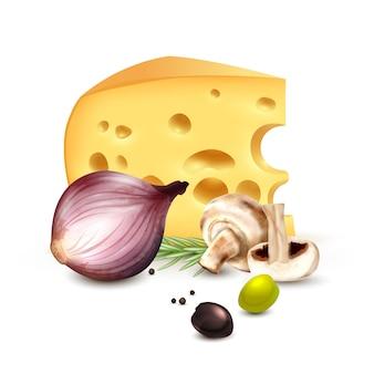 Käse-zwiebel-oliven-realistisches hintergrund-plakat