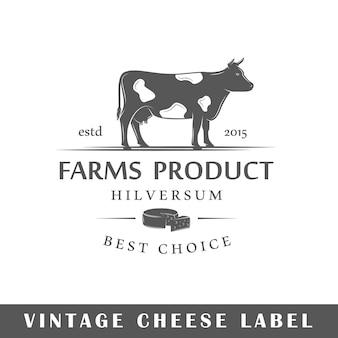 Käseetikett auf weißem hintergrund. element. vorlage für logo, beschilderung, branding. illustration