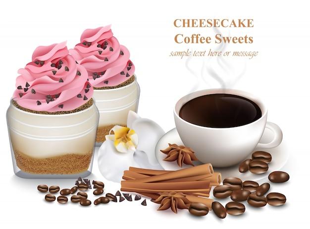 Käsekuchen und frischer kaffee