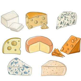 Käseset detailliert. verschiedene arten von käsestücken, beliebte käsesorten.