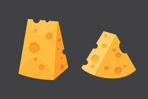 Käsesorten. moderne flache art realistische illustrationsikonen. isolierter parmesan oder cheddar frisch.