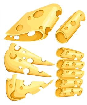 Käsestücke auf weiß. beliebte art von käseikonen isoliert. käsesorten. realistische illustration des modernen stils auf der weißen hintergrundwebsite-seite und der mobilen app