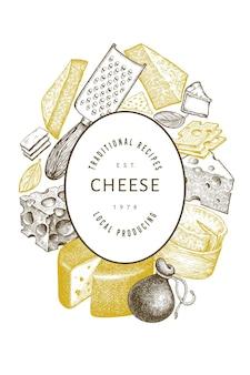 Käsevorlage. hand gezeichnete milchillustration. verschiedene käsesorten im gravierten stil. vintage food hintergrund.