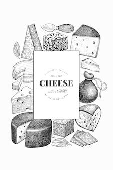 Käsevorlage. hand gezeichnete milchillustration. verschiedene käsesorten im gravierten stil.