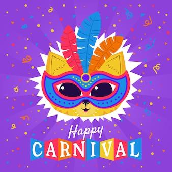 Kätzchen, das eine maske mit federn für karneval trägt
