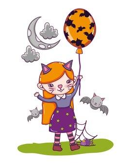 Kätzchen mädchen kostüm mit fledermäusen und luftballons