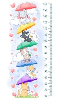 Kätzchen regenbogen regenschirme wachstumstabelle