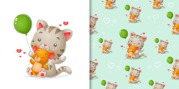 Kätzchen und maus spielen mit grünem ballon in musterillustration