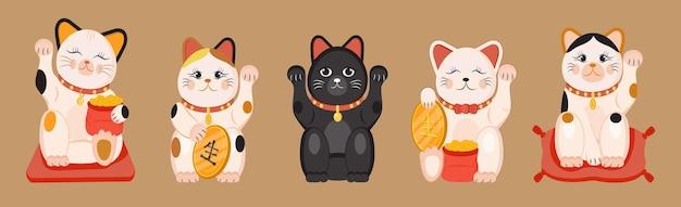 Kätzchenvektorsatz lokalisiert auf glücklicher katze des braunen hintergrundes in der traditionellen japanischen kultur