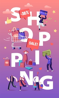 Käufer einkaufen spaß konzept. karikatur flache illustration
