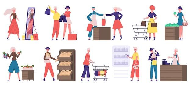Käufer im lebensmittelgeschäft oder supermarkt lebensmittelmarkt einkaufen