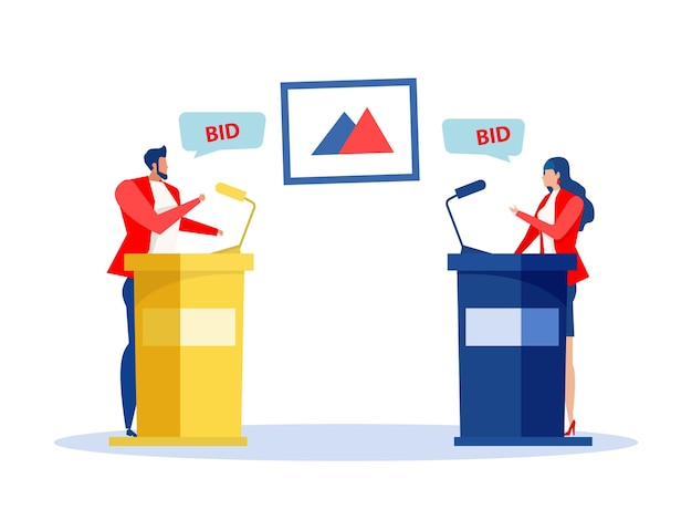 Käufer und auktionator verkaufen und kaufen bei auktionen. kunstauktionsgeschäft, markthandel, vektor.