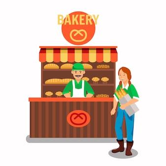 Käufer und verkäufer an der bäckerei-vektor-illustration