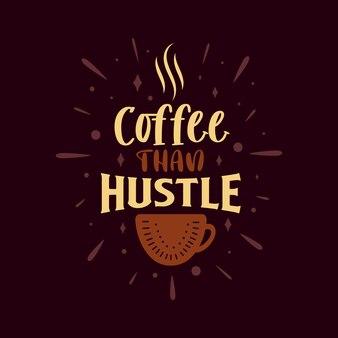 Kaffee als hektik. kaffee zitiert schriftzugdesign.