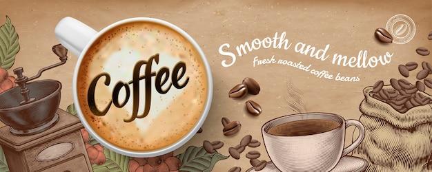 Kaffee-bannerwerbung mit illustratin latte und holzschnittartdekorationen auf kraftpapierhintergrund