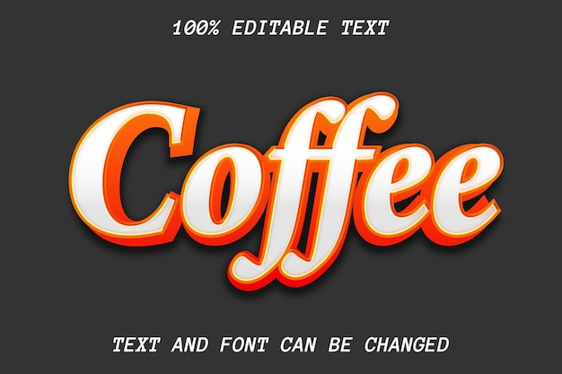 Kaffee bearbeitbarer texteffekt-prägestil