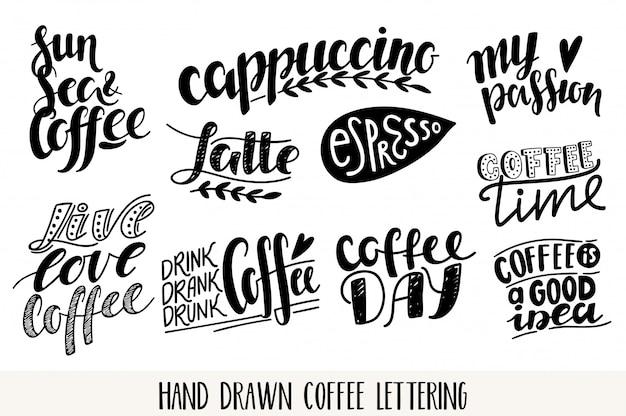 Kaffee-beschriftungsikonen gesetzt. motivationszitat. inspirierende typografie.