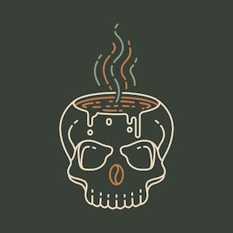 Kaffee bis zum tod 3 monoline-illustration