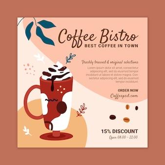 Kaffee bistro quadrat flyer design-vorlage