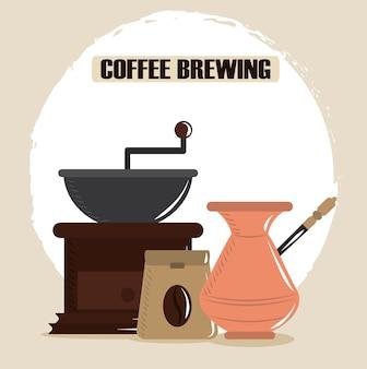 Kaffee brauen, türkische topfmühle und paket samen vektor-illustration