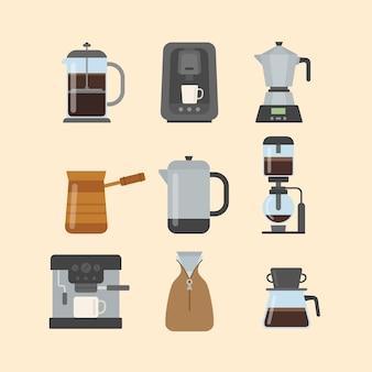 Kaffee-brühmethoden mit flachem design eingestellt