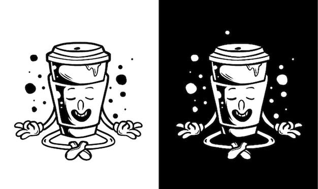 Kaffee charakter macht yoga illustration