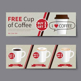 Kaffee coupon rabatt vorlage flaches design