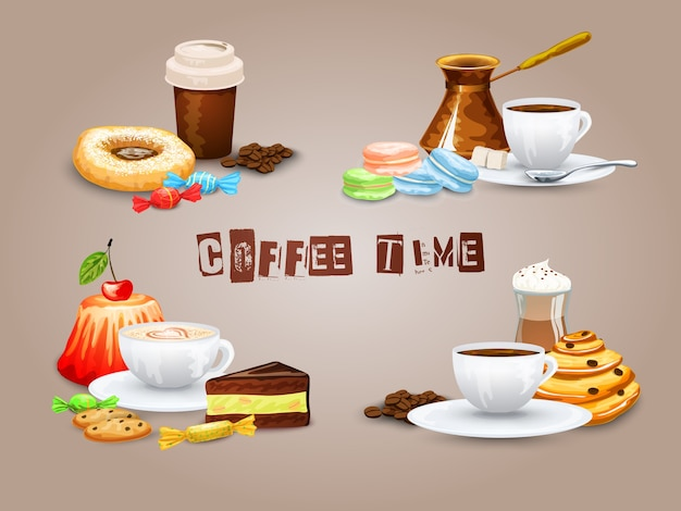 Kaffee dekorative icons set