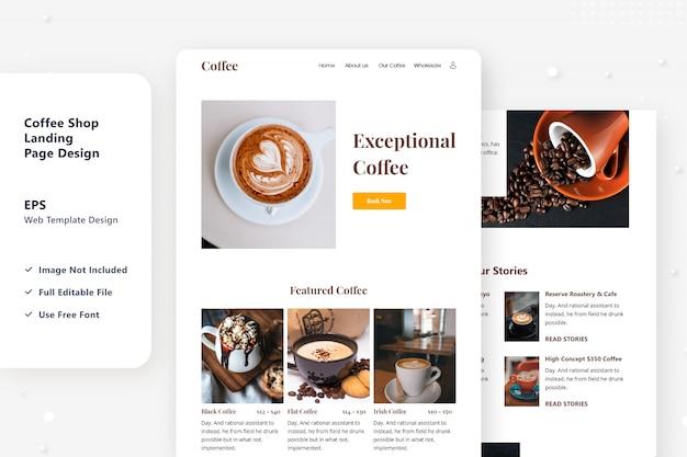 Kaffee, der web-landingpage-design verkauft