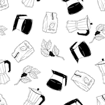 Kaffee-doodle oder skizzensymbole in nahtlosem muster