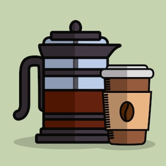Kaffee französische presse und kaffeetasse symbol