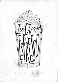 Kaffee glace tasse beschriftungseis, espresso in der weinlesegrafikartzeichnung auf schmutzigem papierhintergrund