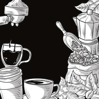 Kaffee hand gezeichnet Premium Vektoren