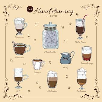 Kaffee hand gezeichnetes farbiges set