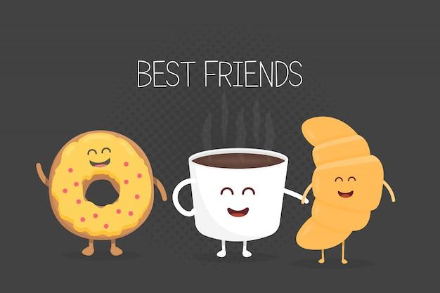 Kaffee-, hörnchen- und donutcharakterillustration der besten freunde