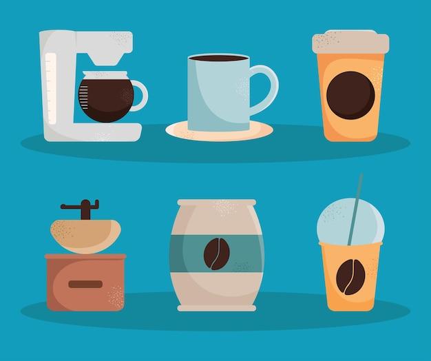 Kaffee-icon-sammlung auf blauem hintergrund