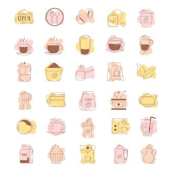 Kaffee ikonen tasse kessel teekanne bohnen maschine linie und füllen