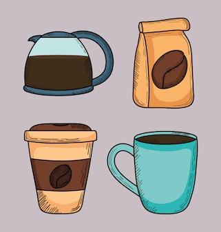 Kaffee-ikonensammlung auf hintergrund