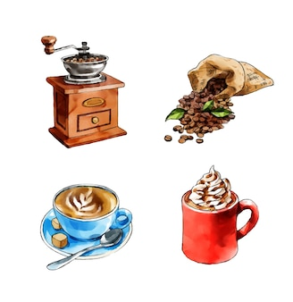 Kaffee illustration sammlung