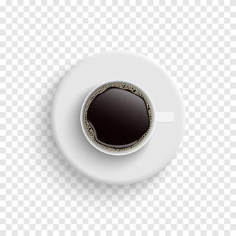 Kaffee in der ansicht der weißen tassen von oben isoliert auf transparent