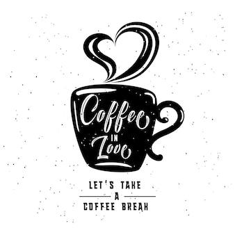 Kaffee in der liebe. alte art und weise kaffee-rahmen und -aufkleber mit weinlesebändern.
