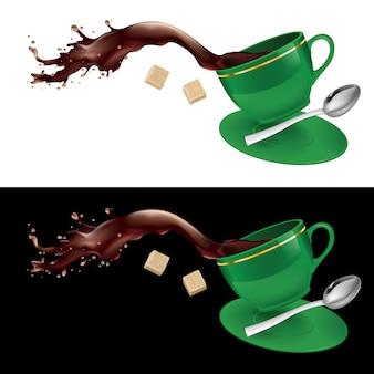 Kaffee in grüner tasse