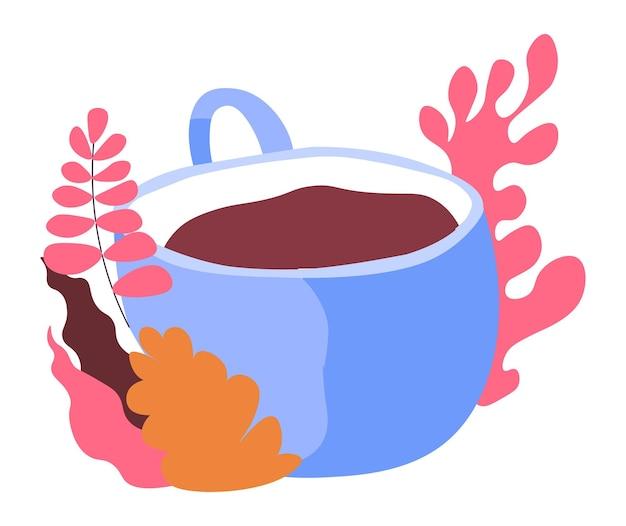 Kaffee in porzellantasse blumenmuster serviert