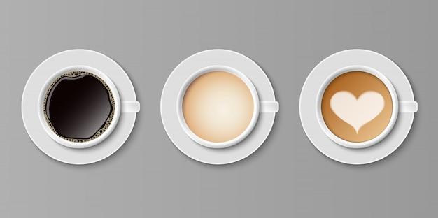 Kaffee in weißen tassen ansicht von oben, satz kaffee